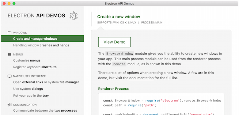 A screenshot of the Electron API Demos app