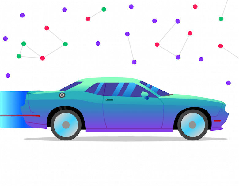 A blue and purple sports car with data points above it to represent expertise.