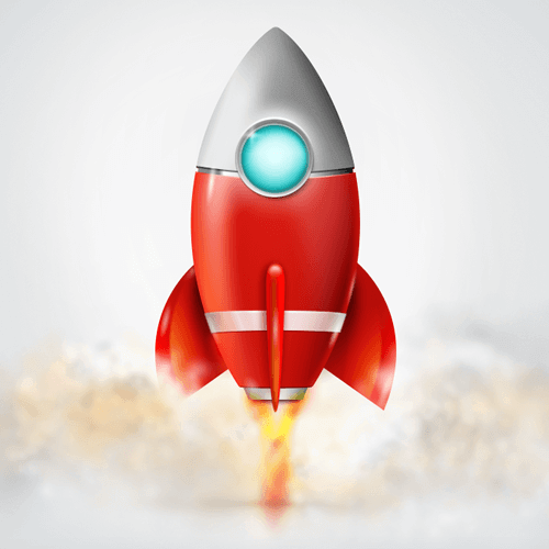 A rocket illustration, created in Adobe Fireworks