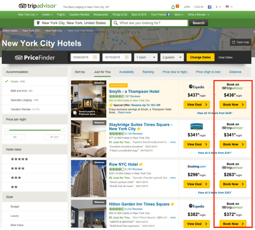 Screen 3: list of hotels based on search criteria