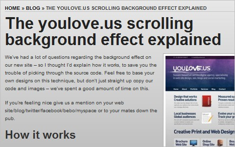 The youlove.us scrolling background effect explained