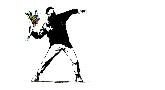 Banksy flower thrower.