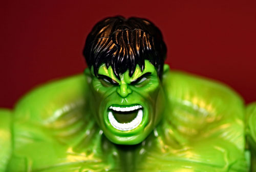 A close image of the Hulk character with an angry face