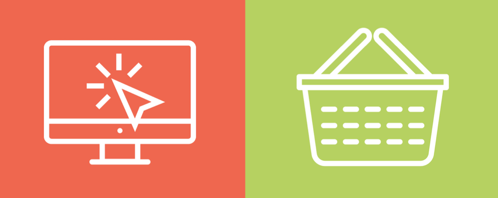 A close-up of two icons included in the e-commerce linear icon set.