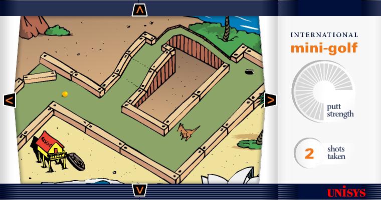Screenshot of the Unisys mini-golf game