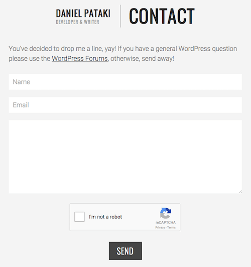 The contact form on my website is powered by Ninja Forms