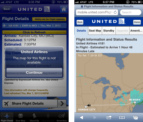 United's mobile app not as reliable as their mobile site