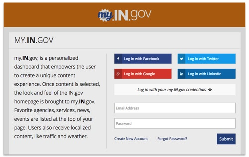 Log-in page for my.IN.gov