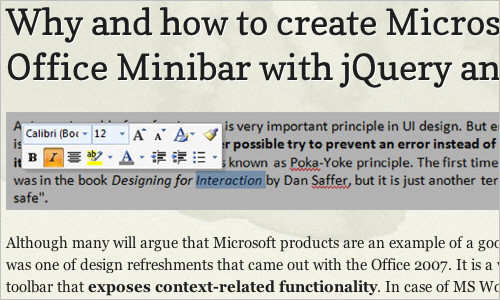 Why and how to create Microsoft Office Minibar with jQuery and CSS3