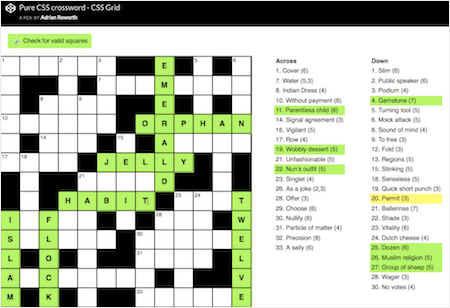 Pure CSS Crossword