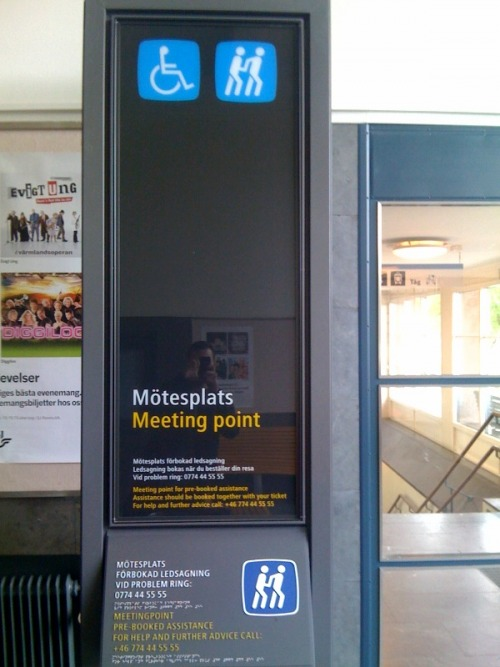 Wayfinding and Typographic Signs - falkoping-meeting-point-sign-on-a-train-station