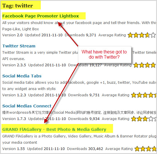 The WordPress.org listings for the twitter tag showing facebook plugins and an image gallery plugin
