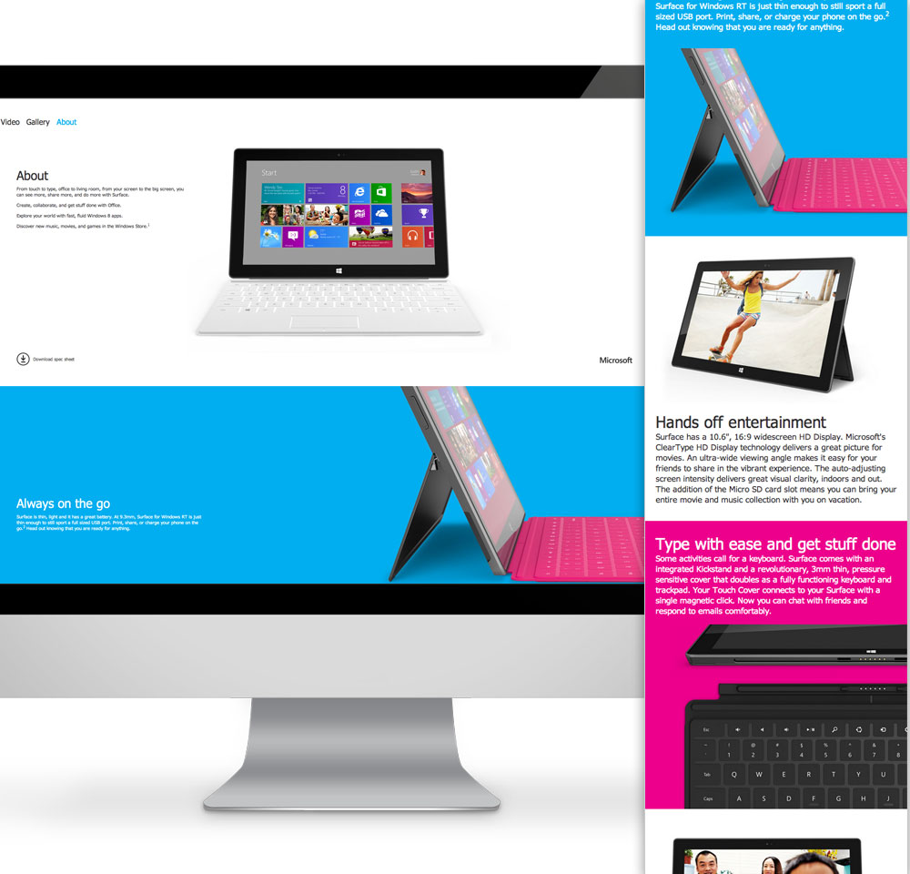 Microsoft's Surface website falls short on small screens.