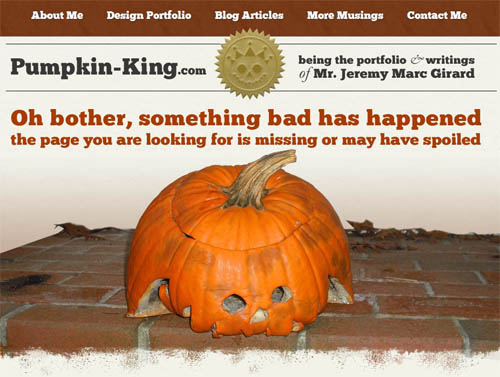 Pumpkin-KIng.com's humorous 404 page