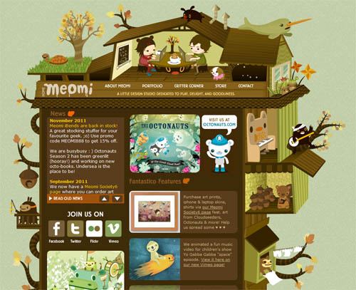 Meomi's delightful, discovery-filled website