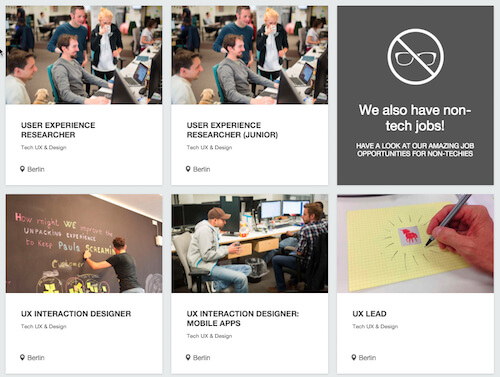 Zalando's UX jobs website