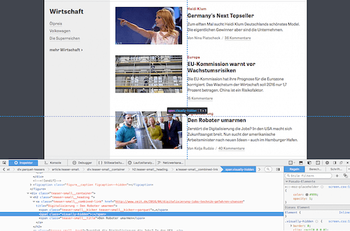 Browsing through the HTML markup of the German newspaper zeit.de, Francesco Schwarz detected invisible details that improve the user experience.