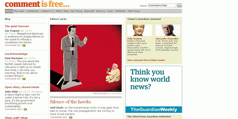 Screenshot of an article at the Guardian Online