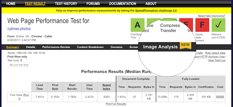 A screenshot of the new Analyze Images tab in WebPagetest