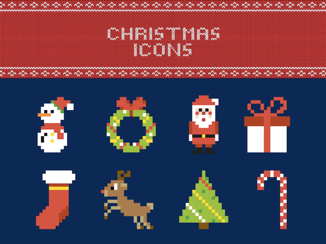 Pixel Christmas Icon Set
