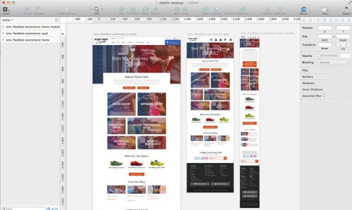 Multiple artboads in Sketch allow you to work easily on desktop, tablet and mobile mockups at the same time