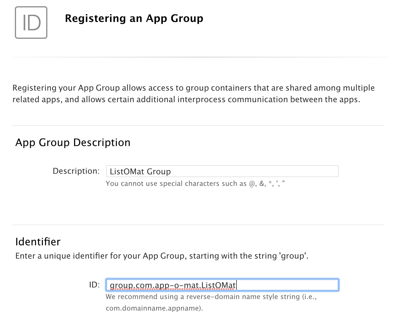 A screenshot of the Apple developer website dialog for registering an app group