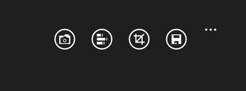 The application bar of Pictures Lab, with four icons and the More button