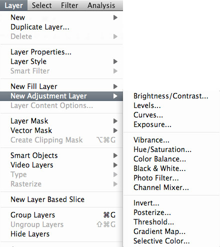 Photoshop adjustment layer