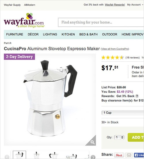 Wayfair have no breadcrumbs