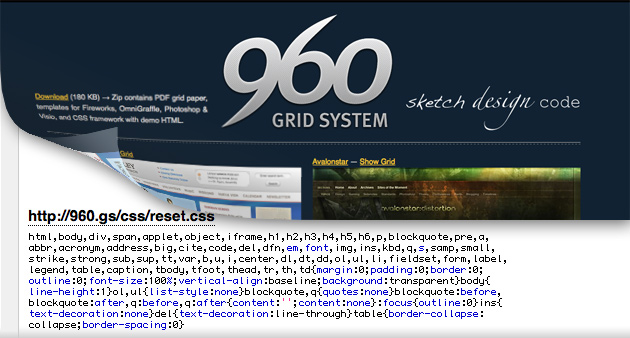 Nathan Smith's 960 Grid System uses a reset