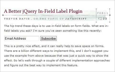 A Better jQuery In-Field Label Plugin