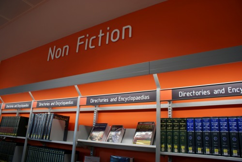 Wayfinding and Typographic Signs - non-fiction-library-signage