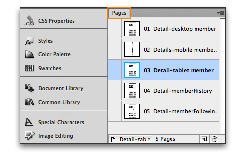 Adobe Fireworks Pages panel