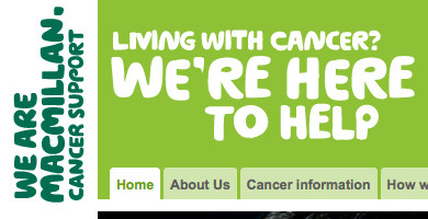 Unclickable Macmillan title and strap-line in header