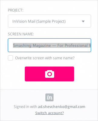 InVision LiveCapture extension