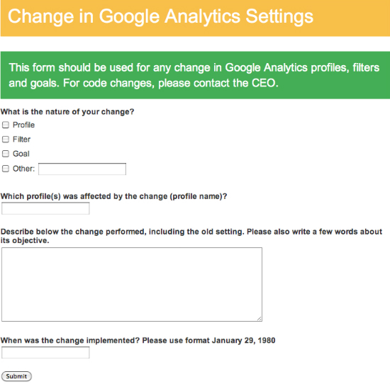 Google Analytics settings form