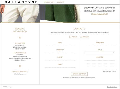 Contact section on Ballantyne website.