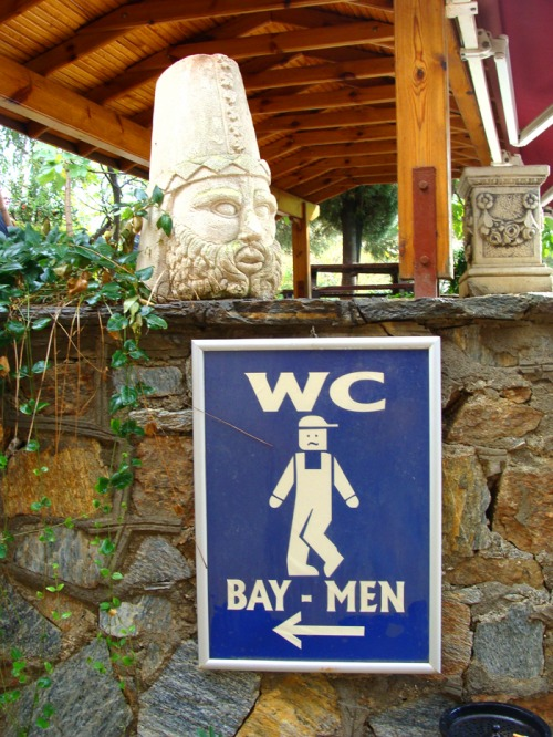 Wayfinding and Typographic Signs - mens-restroom-sign-at-the-house-of-virgin-mary
