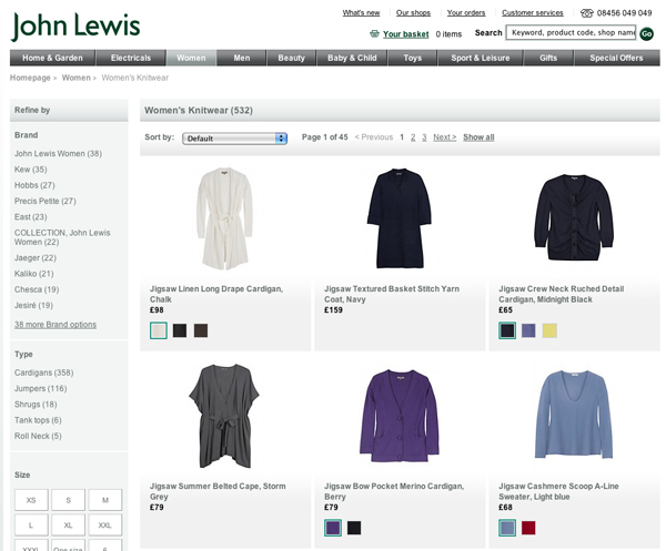 Jumpers on the John Lewis website