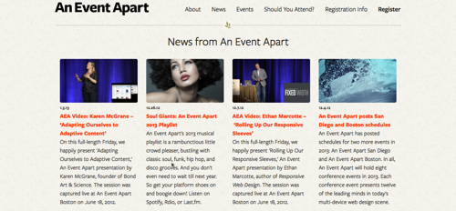 Screenshot 'An Event Apart'