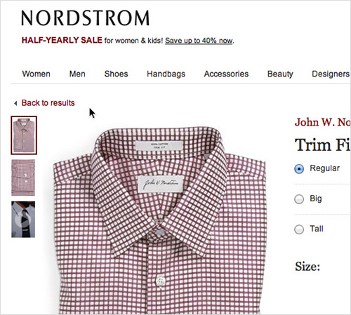 Nordstrom have history based breadcrumbs