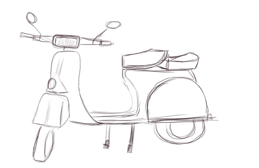 Draw the Vespa in a new file, so you can drag it on the image with the pinup later on.