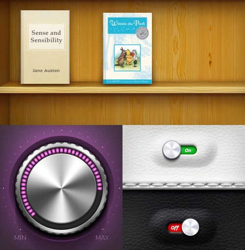 Collage of skeuomorphic interface elements
