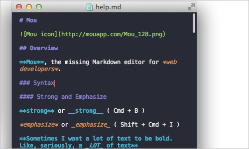 Mou - Markdown editor for web developers, on Mac OS X
