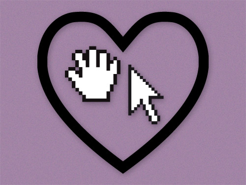 Pixel drawing hand and mouse pointer in a vector style heart