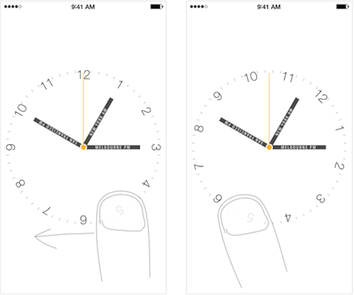 """24 hours"" prototype with rotating clock face (the original build of the app was lost)."
