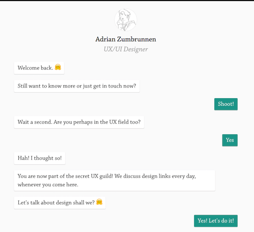 Adrian Zumbrunnen's conversational website