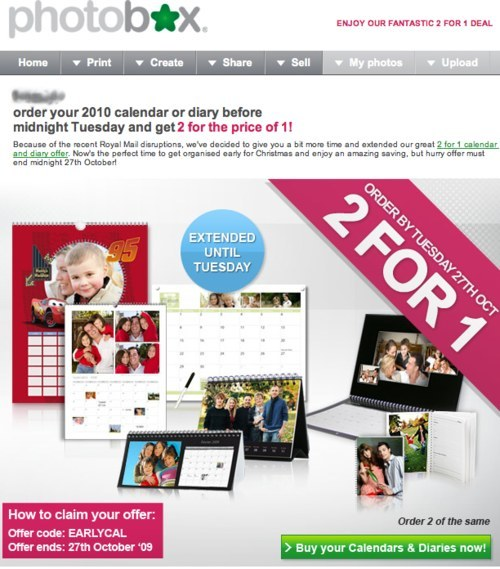 Photobox newsletter with discounts