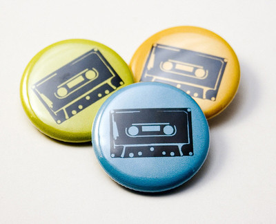 Pins, Badges and Buttons - Cassette Tape buttons