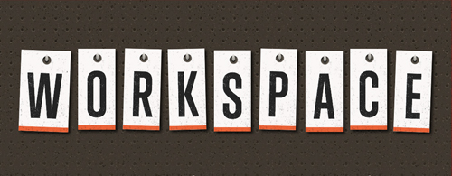 "Typographic treatment of the word ""workspace"" with each letter hanging from a nail"